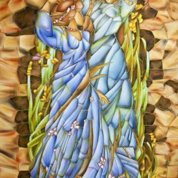 Acuarela sobre seda - Abstracto