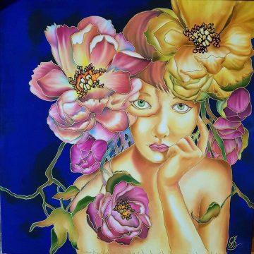 Acuarela sobre seda - Flores