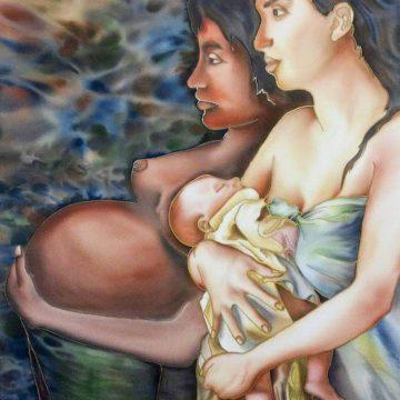 Acuarela sobre seda - Mujeres
