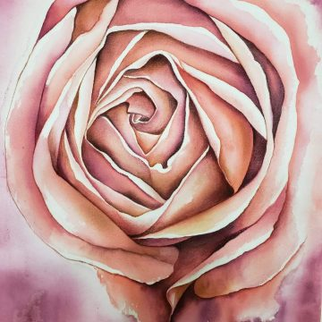 Acuarela sobre seda - Rosa