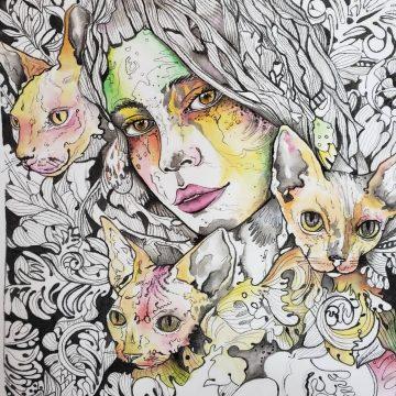 Acuarela sobre seda - Rostro y gatos
