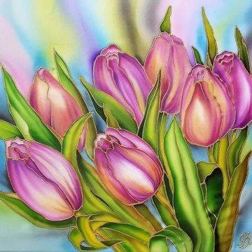 Acuarela sobre seda - Tulipanes