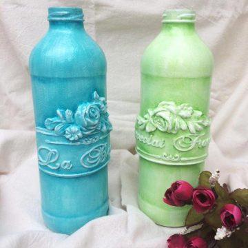 Arte Mix Media - Botellas de colores