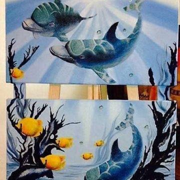 Pintura rocalla - Delfines