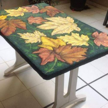 Pintura rocalla - Mesa con hojas