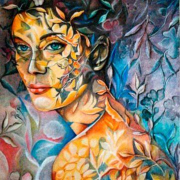 Pintura rocalla - Mujer y botánica
