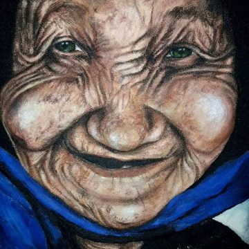 Pintura rocalla - Rostro anciana